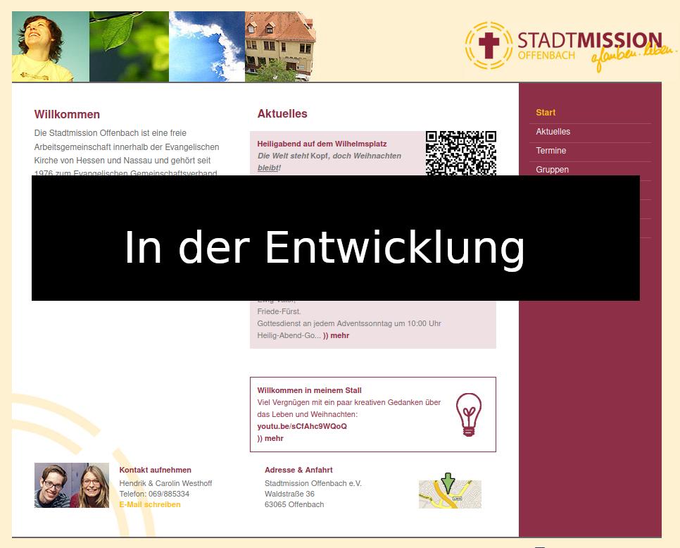 Entwicklungsansicht der Webseite
